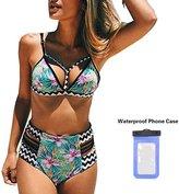SWAMPLAND Push Up Padding High Waisted Bikini Sets Cutout Printing Women's Swimsuit