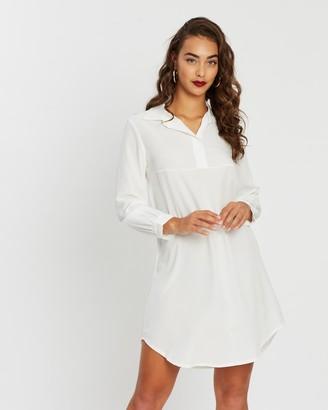 boohoo Half-Way Button-Through Oversized Shirt Dress