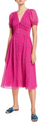 Tanya Taylor Alfonsa Printed Silk Short-Sleeve Dress