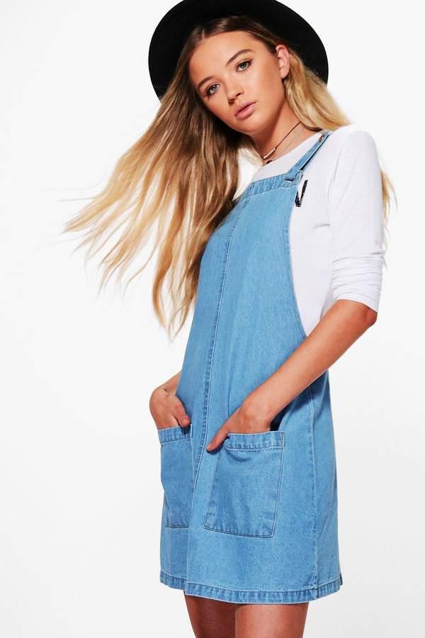 boohoo Pansy Patch Pocket Denim Pinafore Dress mid blue