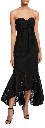 Shoshanna Sonya Strapless High-Low Lace Cocktail Dress with Bow