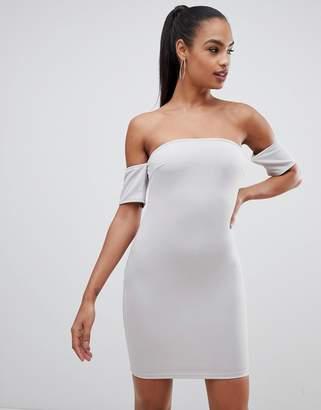 AX Paris off shoulder bodycon dress-Silver