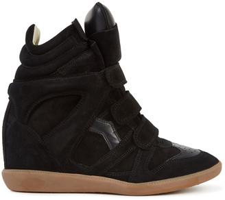 Isabel Marant Bekett 90 Black Suede Wedge Sneakers