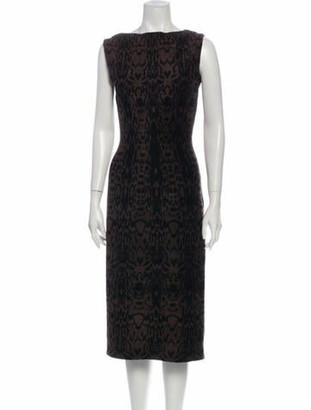 Alaia Animal Print Midi Length Dress Brown