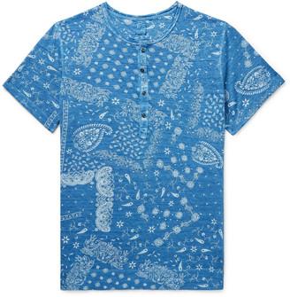 120% Garment-Dyed Paisley-Print Cotton-Jersey Henley T-Shirt