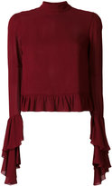 Giamba frill-trim knitted top