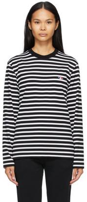 MAISON KITSUNÉ Black and White Marin Fox Patch Long Sleeve T-Shirt