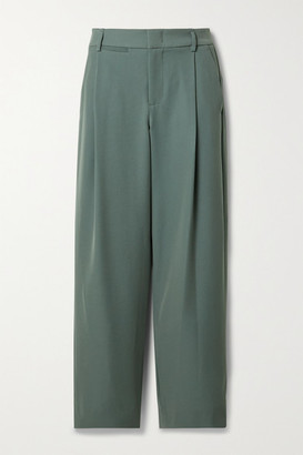 Vince Cropped Pleated Crepe Wide Leg Pants - Army green