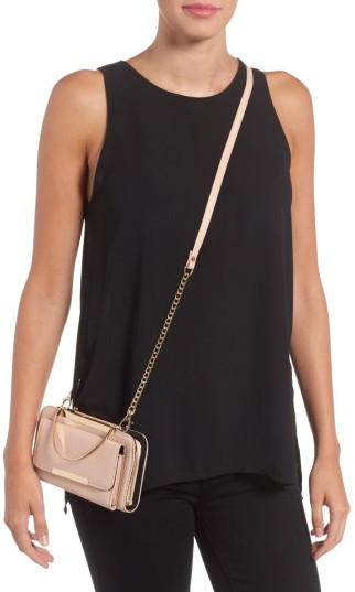Amici Accessories Faux Leather Phone Crossbody Bag - Black