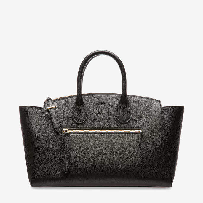 Bally Sommet Zip Medium Black, Women's medium grained bovine leather top handle bag in black