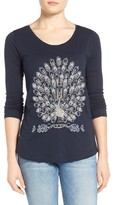 Lucky Brand Women's Embellished Embroidered Peacock Tee