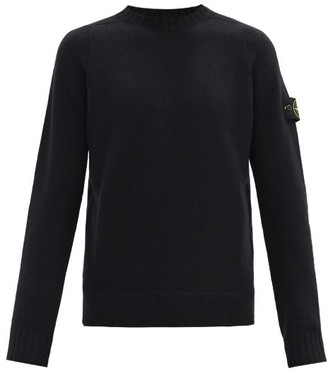 Stone Island Logo-patch Wool-blend Sweater - Black