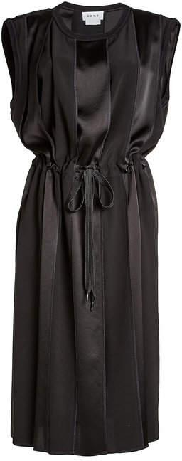 DKNY Dress with Satin and Drawstring Waist