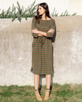 Beaumont Organic AW20 - Bellamy Sue Organic Cotton Dress In Army Tan - Army & Tan / Extra Small