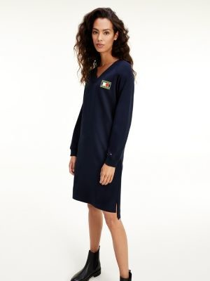 Tommy Hilfiger Logo Patch Relaxed Fit Sweatshirt Dress