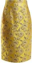 Prada Floral-brocade pencil skirt