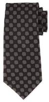 Tom Ford Large Dot-Print Silk Tie, White/Black