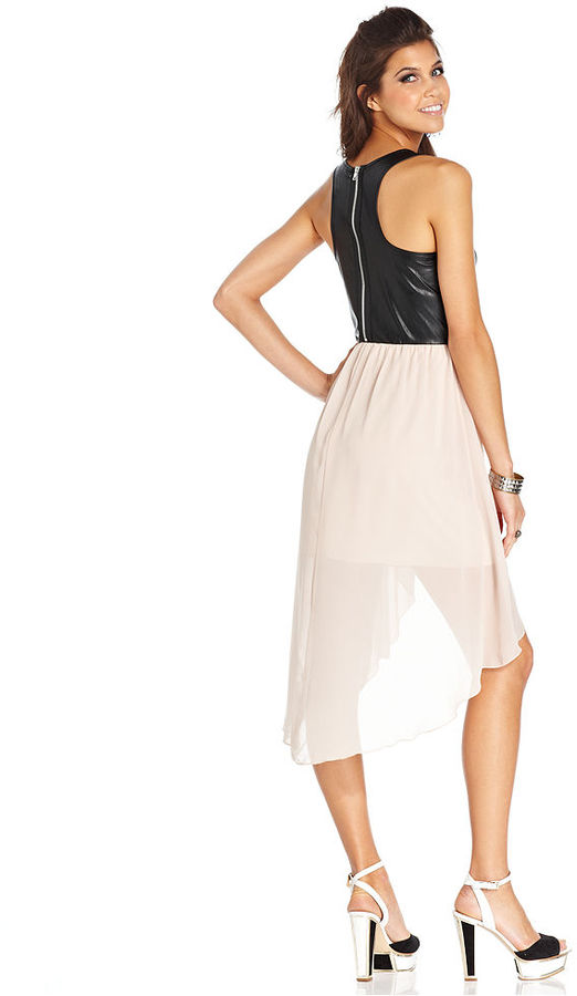 Miss Chievous Juniors Dress, Sleeveless Faux-Leather Chiffon High-Low