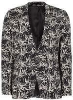 Topman Mens Multi White And Navy Palm Print Ultra Skinny Jacket