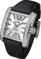 TW Steel CE3015B Men's CEO Goliath Diamond Accented Bezel MOP Dial Black Leather Strap Watch