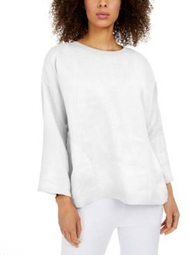 Eileen Fisher Linen Bracelet-Sleeve Top, Regular & Petite