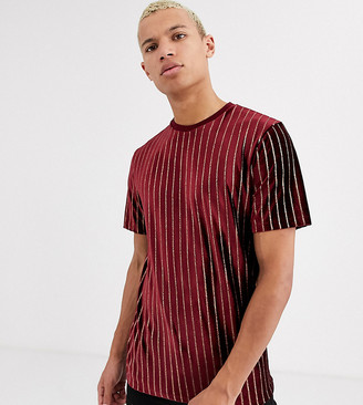 Asos Design DESIGN Tall vertical stripe t-shirt in glitter velour-Red