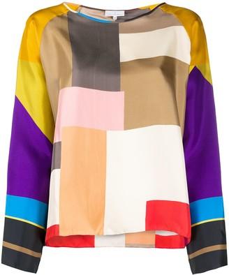 Pierre Louis Mascia long sleeve block colour silk top