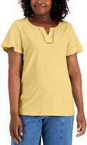 Thumbnail for your product : Karen Scott Cotton Flutter-Sleeve Top, Created for Macy's