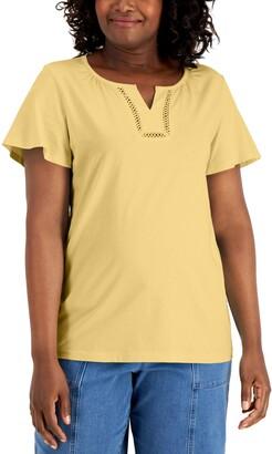 Karen Scott Cotton Flutter-Sleeve Top, Created for Macy's