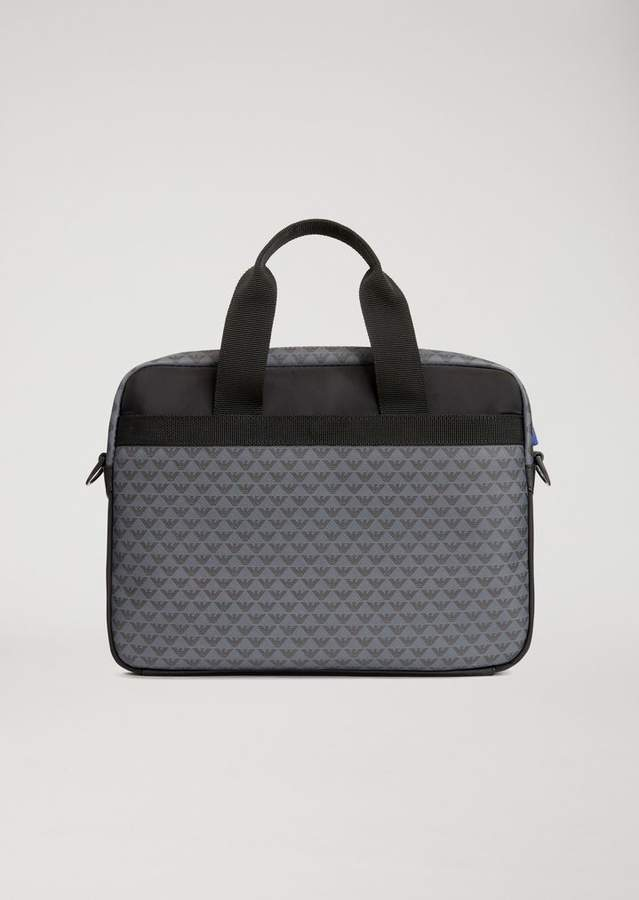 Emporio Armani Briefcase With All-Over Logo Print