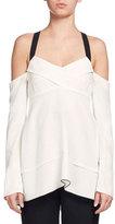 Proenza Schouler Cold-Shoulder Crisscross Tunic Blouse, White