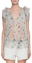 Etoile Isabel Marant Erell Sleeveless Sheer Printed Silk Blouse
