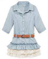 GUESS Guess' Lace-Ruffle Denim Dress, Toddler & Little Girls (2T-6X)