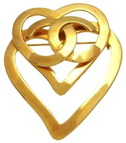 Chanel CC Logo Gold Tone Metal Heart Pin Brooch