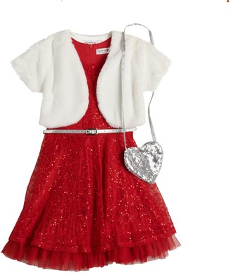 Knitworks Girls 4-6x Knit Works Sequined Holiday Dress Set