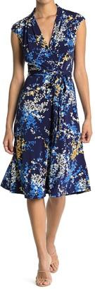 London Times Floral Faux Wrap Midi Dress