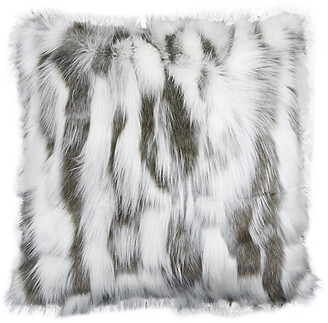 The Piper Collection Misha 22x22 Faux-Fur Pillow - Gray/White