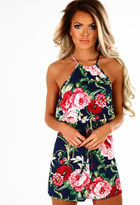Pink Boutique Shea Dream Navy Multi Floral High Neck Tie Waist Playsuit