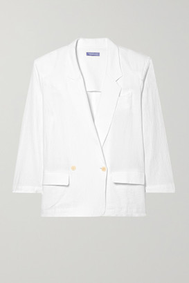 PARADISED Beach Crinkled Cotton-gauze Double-breasted Blazer - White