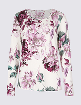 Classic Floral Print Pleated Neck T-Shirt