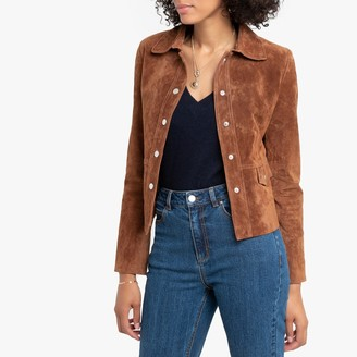 La Redoute Collections Cropped Suede Jacket with Pockets