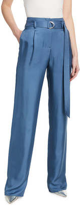 Sally LaPointe Silky Twill High-Waist Belted Pants