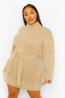 boohoo Plus High Neck Belted Jumper Dress