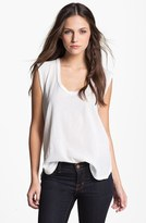 James Perse Contrast Gauze & Jersey Top