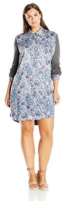 Single Dress Women's Plus Size Printed Shirtdress with Jersey Contrast