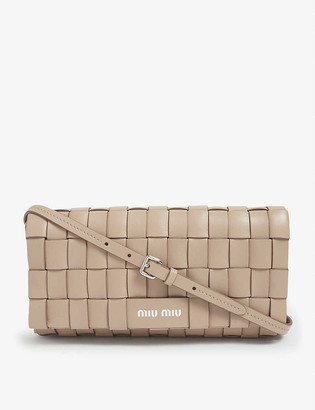 Miu Miu Crystal-embellished woven leather cross-body bag