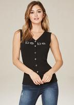 Bebe Logo Lattice Back Tank