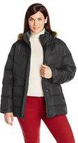 Larry Levine Women's Plus-Size Down Jacket with Removable Faux Fur Trim Hood