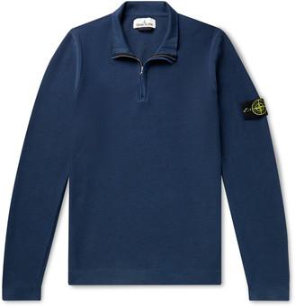 Stone Island Logo-Appliqued Cotton-Pique Half-Zip Sweater