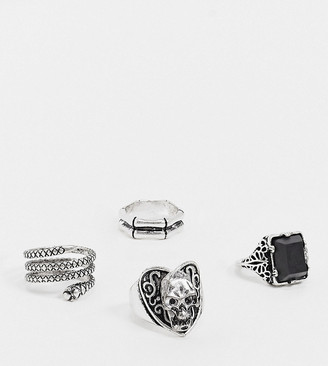 Reclaimed Vintage inspired skull and faux black onyx ring pack in burnished silver